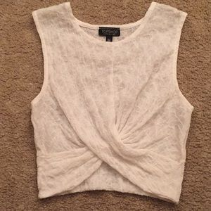 TOPSHOP White Twisted Crop Top Sz 4
